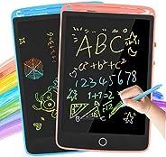 LCD 书写平板电脑,2 件装 8.5 英寸(约 21.6 厘米)涂鸦板,儿童彩色涂鸦板,电子绘图平板电脑,教育绘画垫,生日礼物和 2 岁男孩玩具(蓝色和粉色)