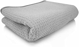 "Chemical Guys MIC_781_01 华夫格编织灰色物质 70/30 混纺超细纤维干燥毛巾,带丝绸边缘,25"" x 36""(约63.5 厘米 x 91.4 厘米)"