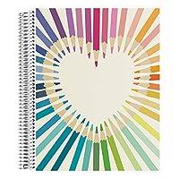 Erin Condren 線圈筆記本(圓點網格布局)- 設計師可互換封面,圓點網格紙(5 毫米標準)尺寸為 21.59 厘米 x 27.94 厘米,提升生產力,耐用,漂亮可愛 圓點網格 8.5x11 彩虹愛心