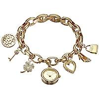 ANNE KLEIN 女式施華洛世奇水晶手表,金色魅力手鏈帶金色表盤,10-7604CHRM