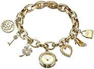 ANNE KLEIN 女士 施华洛世奇水晶,吉祥小饰物手链手表,Gold,10/7604CHRM