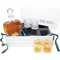 INCANA 威士忌*器套装。 Art Deco Gatsby 系列水晶威士忌*器玻璃套装。 Liquor *器和 4 个鸡尾酒杯。 惊艳无铅超清晰玻璃,适用于 Scotch Whisky 礼品盒