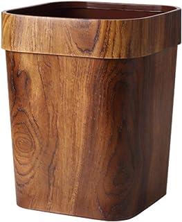 Wakauto 木制垃圾桶 竹制垃圾桶 复古垃圾桶 适用于家庭办公室