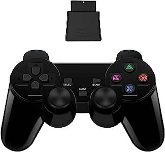 PS2 无线控制器 2.4G,双震动双震动游戏手柄,适用于 Sony Playstation 2,