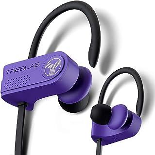 TREBLAB XR700 无线运动耳塞 - 定制可调节耳挂,PRO 跑步蓝牙 5.0 耳机,适合运动员。IPX7 防水防汗入耳式耳机,降噪耳机(紫色)