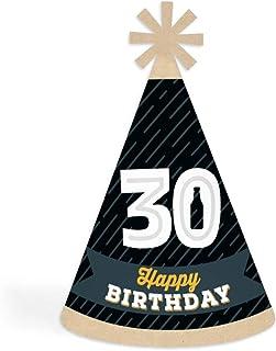 Big Dot of Happiness 欢呼和啤酒到 30 岁 - 圆锥生日快乐派对帽子适合儿童和成人 - 8 件套(标准尺寸)