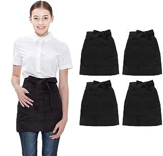 BE THE CHEF 4 件装 2 个口袋 * 涤纶腰部围裙适用于服务员服务员餐厅、酒吧、酒吧、咖啡馆