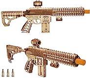 Wood Trick Assault Gun AR-T 模型套件,适合成人和青少年搭建 - 带伸缩对接、保险丝、瞄准和夹子 12 轮 - 精细结构 - 23x8 英寸 - 3D 木制拼图 - 14+