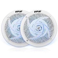 Pyle Marine 音箱 - 6.5 英寸 2 路防水防風雨戶外音頻立體聲系統帶 LED 燈,240 瓦功率和低調*風格 - 1 對 - PLMRS63WL(白色)