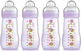 MAM 奶瓶带中等流量奶嘴(蓝色,4 件装) 粉红色