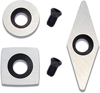 3 件套硬质合金迷你车削工具替换刀具套装,半径方形,圆形和钻石形状木轮插入件,带 2 个替换螺丝