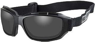 Harley-Davidson 男式弯曲灰色镜片护目镜,可折叠黑色边框 HABEN01