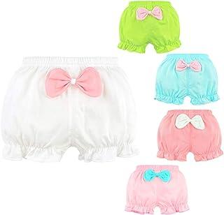 女婴 Bloomers 新生儿婴儿幼儿棉质褶皱蝴蝶结尿布套内裤套装 0-4T, 5 种颜色(白蓝色、*、粉色、浅红色)。, Large