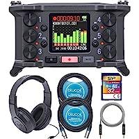 Zoom F6 多轨现场录音机套装,带 32GB Class 10 SDHC SD 卡,SR350 头戴式立体声耳机,Blucoil 2 包 10 英尺平衡 XLR 电缆和 5 英尺音频辅助电缆