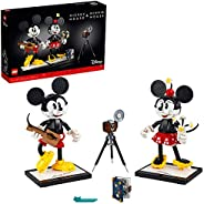 LEGO 迪士尼米老鼠和米妮老鼠可搭建人物(43179),经典风格米奇可收藏成人搭建套件,2021 年新款(1,739 件)