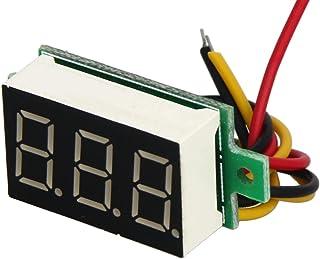 Heyiarbeit 直流电压表数字红色文字 LED 数字伏电压表 3 根电线连接用于直流电压测量 1 件