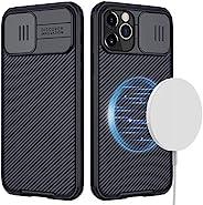 CloudValley 专为 iPhone 12 Pro Max 磁性手机壳,6.75 英寸(约 17 厘米)相机保护套,带滑动镜头盖,内置磁铁圈[支持磁性充电器]超薄保护套(黑色)