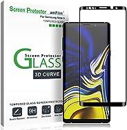 Galaxy Note 9 屏保玻璃(全屏覆盖),三星 Galaxy Note 9 的琥珀色玻璃屏幕保护膜 - 点矩阵,保护套友好,3D 曲线,带简易安装托盘 - 2018