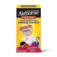 Schiff 旭福 Airborne 维生素C 1000毫克/次 Airborne 浆果味咀嚼片(一盒96粒) 无麸质 补充剂 富含抗氧化剂