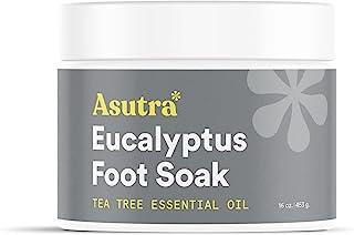ASUTRA Extra Strength 足底浸泡(死海盐含茶树和桉树油),16 盎司(约 453.6 克)   软化老茧、破裂脚和脚趾角质层   深层清洁和修复辛苦工作的脚   含浮石石