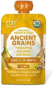 NurturMe Power Blends 婴儿袋装食品,菠萝+香蕉+燕麦片,3.5 盎司/袋(约99.22克)(12 袋装)