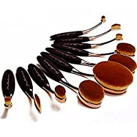Pro Balance Soft Hair Oval Makeup Brush Sets 10 Pcs Smooth Cosmetics wow Artis Toothbrush Brushes Foundation Eyeshadow Eyeliner Lip Contour Kit Cream Puff Blush wow Set Concealer Beauty Tool 10 Pcs Premium