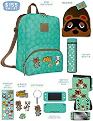 Controller Gear 官方Nintendo Animal Crossing: New Horizons Merch - 迷你背包,Switch + Switch Lite Skins,屏幕保护膜,不锈钢水瓶,豆