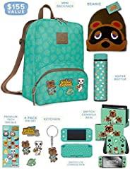 Controller Gear 官方Nintendo Animal Crossing: New Horizons Merch - 迷你背包,Switch + Switch Lite Skins,屏幕保護膜,不銹鋼水瓶,豆