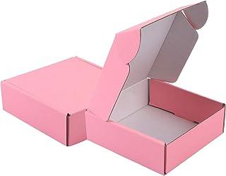 Teqooza 可回收瓦楞纸箱信封 - 纸板箱非常适合运输小物品 - 15.24 x 15.24 x 5.08 厘米 - 牛皮纸、粉色 - 5 包