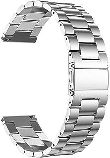 JNCVXN 兼容 Galaxy Watch 40mm 41mm 42mm 44mm 45mm 46mm 智能手表表带,20mm/22mm 金属表带替换腕带,适用于 Samsung Galaxy Watch 3/Active 2/Gear Sp...
