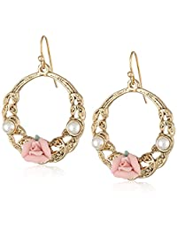 1928 珠宝金色玫瑰耳环