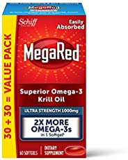 Schiff 旭福 MegaRed 超高强度软胶囊,1000mg Omega-3磷虾油补充剂(一盒60粒),无腥味,具有EPA和DHA,加上虾青素