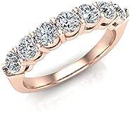 Glitz Design 7 颗宝石婚戒可堆叠 14K 金饰面锆石 925 订婚新娘