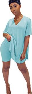 加大码女式上衣 2 件套夏季服装短裤套装休闲套装运动服