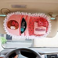 MOCMOC 摩丝娃娃 卡通蕾丝汽车遮阳板CD夹套 车用CD收纳袋 置物袋 手机袋 粉色