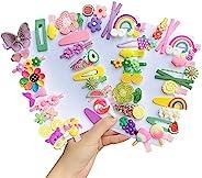 EleMirsa 50 件女婴发夹可爱发夹彩虹花彩色小女孩发饰适合女婴、青少年幼儿