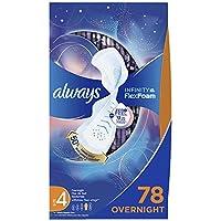 Always Infinity Size 1,带护翼衬垫,常规吸收能力,无香味,36片装(1包3个),包装可能有所不同 Size 4 - Overnight Absorbency 4 号 84