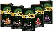 Jacobs 雅各布 咖啡胶囊 50颗 兼容Nespresso咖啡机 铝质咖啡胶囊 5种口味(5×10颗胶囊)