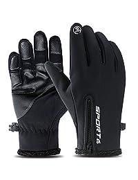 Cevapro 自行車手套,觸摸屏冬季手套加厚保暖手套戶外跑步登山滑雪騎行手套 - 男女皆宜