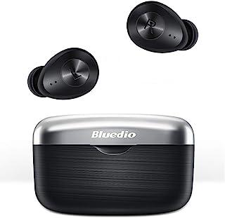 Bluedio TWS 无线耳塞带 Qualcomm Chip HiFi 低延迟无线耳塞,带深低音触摸控制面部识别,30H 待机防水,适用于运动、游戏、锻炼(黑色)
