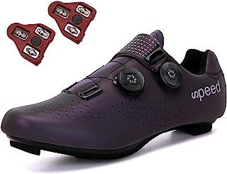 女式公路自行车鞋男式自行车鞋包括防滑钉(组合套装)兼容 SPD/SPD-SL MTB 适用于户外山地自行车鞋室内骑行锻炼鞋