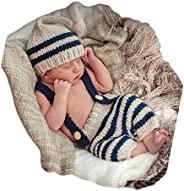 新生儿 婴儿 照片拍摄道具 服装 钩针服装 条纹 帽子 裤子 男孩 女孩 摄影 拍摄