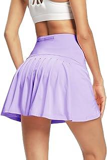 siyecaoo 女式运动短裙打褶网球裙带短裤口袋跑步网球高尔夫锻炼运动裙