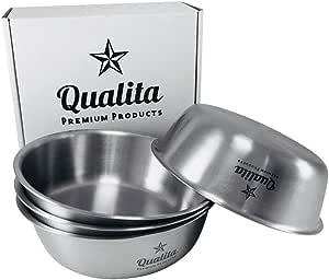 Qualita 4 件套不锈钢儿童碗 幼童 坚固 宝宝* 不含 BPA