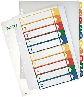 Leitz 12920000 PC 可书写索引条(聚丙烯,1-6,A4)多色 1-10 Farbig/Transparent