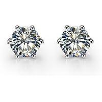 奥地利水晶 AAA 6 爪耳环 耳钉 钻石切割 镀白金 925 银