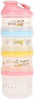 TOPINCN 奶粉*分配器 4 层隔层可堆叠*奶粉分配器 适用于旅行、露营和户外活动(粉色盖子)
