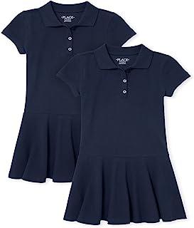 The Children's Place 女童制服凸纹布 Polo 连衣裙 2 件装