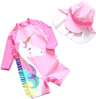 女婴泳衣独角兽*衣带帽子夏季沙滩泳衣 UPF 50+ *系数 2-7 岁