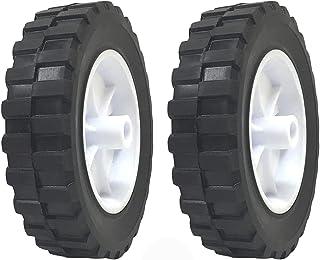2 件装 - 实心橡胶平免费轮胎 15.24 x 3.81 厘米手推车轮 - - 1.27 厘米轴孔 - 承重 70 磅